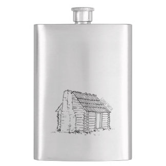 Vintage Hand Drawn Log Cabin. Add your Name. Hip Flask
