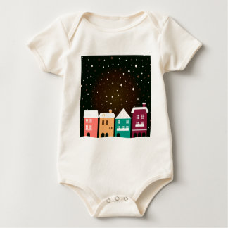 VINTAGE hand-drawn Village with Snow Baby Bodysuit