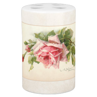 Vintage Hand Painted Style Pink Roses Soap Dispenser And Toothbrush Holder