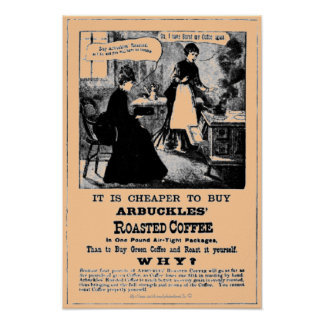 Vintage handbill for ARBUCKLES' Roasted Coffee bea Poster