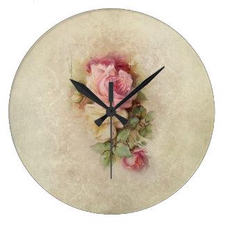 Vintage Handpainted Style Roses Large Clock