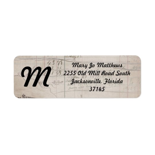 Vintage Handwritten Ledger Return Address Label