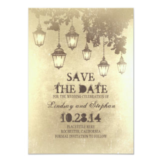 Vintage hanging lamp lights save the date cards
