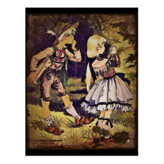 Vintage Hansel and Gretel See the Cottage Postcard