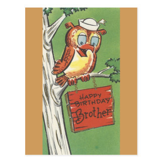 Vintage Happy Birthday For Brother With Owl Postcard