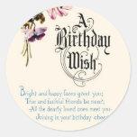 Vintage Happy Birthday Greetings Round Sticker