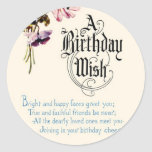 Vintage Happy Birthday Greetings Round Stickers
