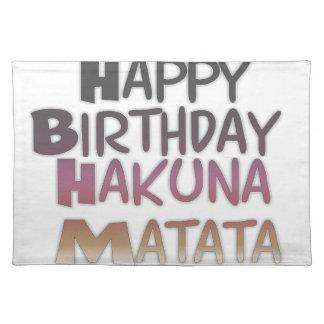 Vintage Happy Birthday Hakuna Matata Purple Inspir Placemats