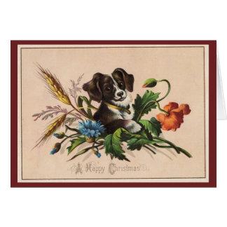 Vintage Happy Christmas Dog Card