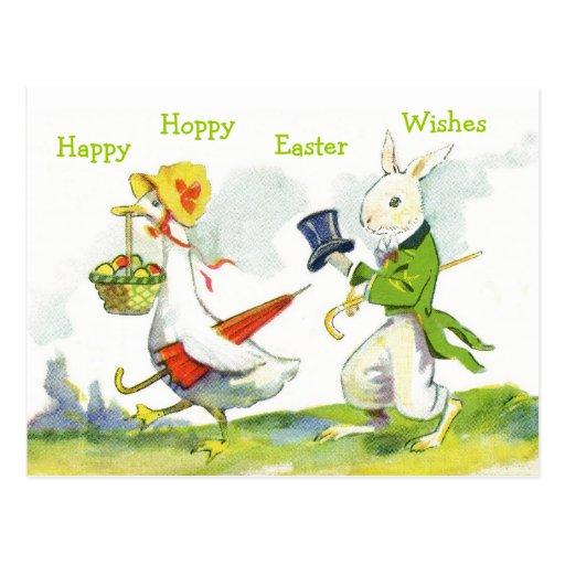 Vintage Happy Easter Postcard-Dressed Rabbit, Duck