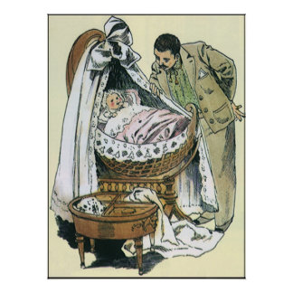 Vintage Happy Fathers Day, Victorian Baby Bassinet Poster