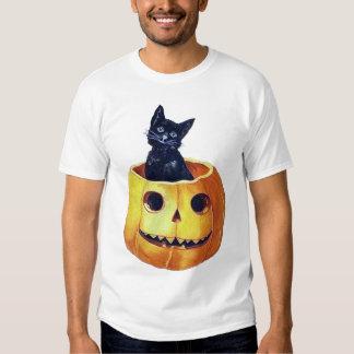 Vintage Happy Halloween Kitty in a Pumpkin T-shirts
