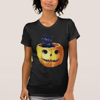 Vintage Happy Halloween Kitty in a Pumpkin Tshirt