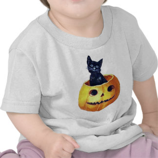 Vintage Happy Halloween Kitty in a Pumpkin Tees