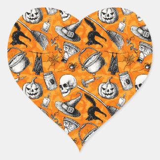 Vintage Happy Halloween Pattern. Witch, pumpkin Heart Sticker