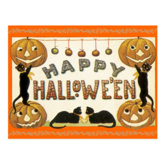 Vintage Happy Halloween Postcard Jack-O-Lanterns