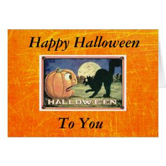 Vintage Happy Halloween Pumpkin with Black Cat Card