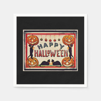 Vintage Happy Halloween Pumpkins Black Cats Disposable Serviettes