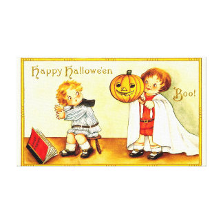 Vintage Happy Halloween With Cartoon Kids Canvas Print