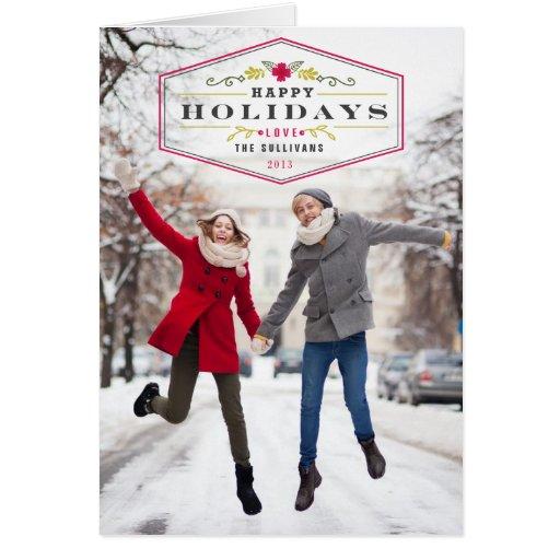 Vintage Happy Holidays 2013 Photo Folded Card