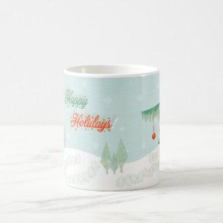 "Vintage ""Happy Holidays!"" landscape Coffee Mug"