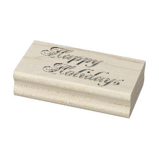 Vintage Happy Holidays Sentiment Rubber Art Stamp