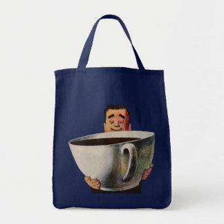 Vintage Happy Man Drinking Giant Cup of Coffee Bags