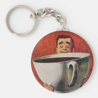 Vintage Happy Man Drinking Giant Cup of Coffee Basic Round Button Key Ring