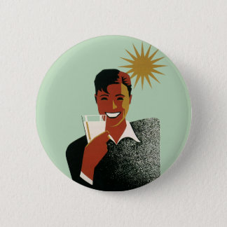 Vintage Happy Man Smiling Drink Cocktails Sunshine 6 Cm Round Badge