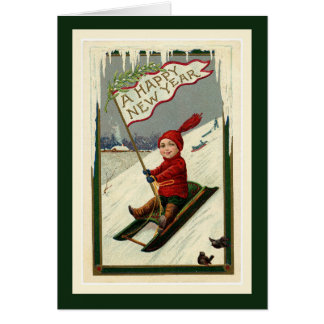 Vintage Happy New Year Boy and Sled Card