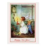 Vintage Happy New Year children clock Postcards