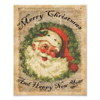 Vintage Happy Santa Christmas Greetings Art Photograph