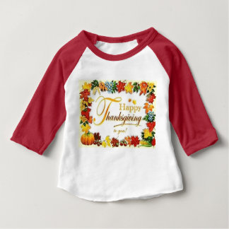 Vintage Happy Thanksgiving Colorful Leaves Baby T-Shirt