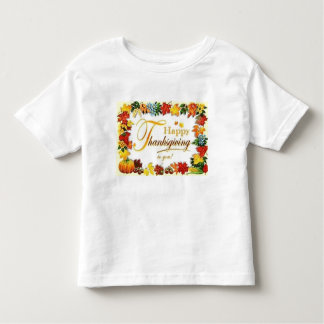 Vintage Happy Thanksgiving Colourful Leaves Toddler T-Shirt