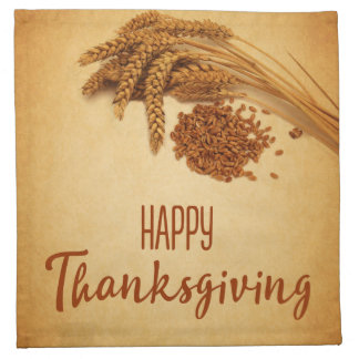 Vintage Happy Thanksgiving Wheat - Cloth Napkin