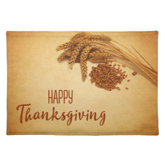 Vintage Happy Thanksgiving Wheat - Cloth Placemat