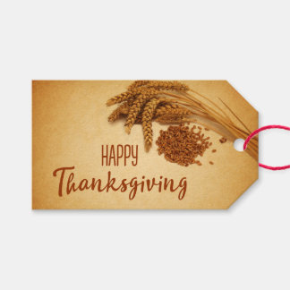 Vintage Happy Thanksgiving Wheat - Gift Tag