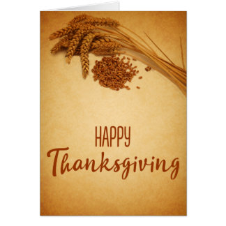 Vintage Happy Thanksgiving Wheat - Greeting Card