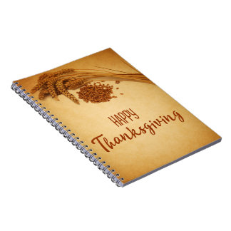 Vintage Happy Thanksgiving Wheat - Notebook