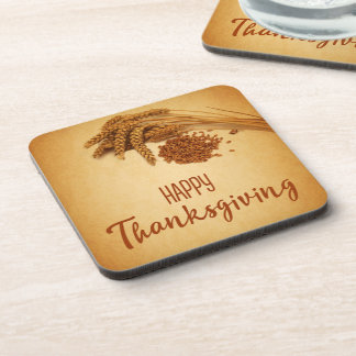 Vintage Happy Thanksgiving Wheat - Plastic Coaster