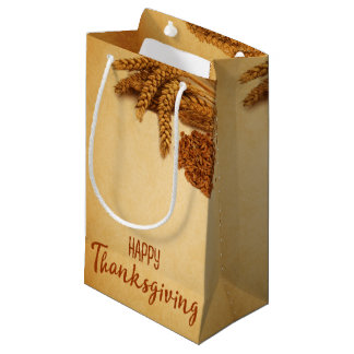 Vintage Happy Thanksgiving Wheat - Small Gift Bag