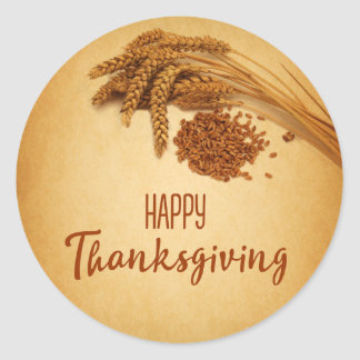 Vintage Happy Thanksgiving Wheat - Sticker