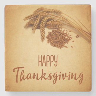 Vintage Happy Thanksgiving Wheat - Stone Coaster