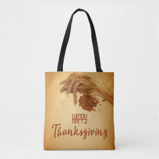 Vintage Happy Thanksgiving Wheat - Tote Bag