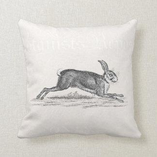 Vintage Hare Bunny Rabbit Illustration -Rabbits Cushion
