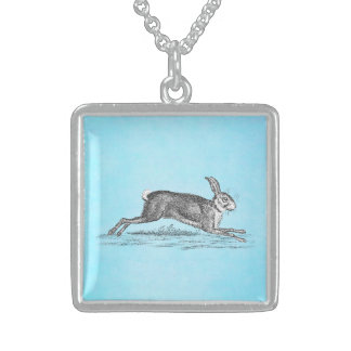 Vintage Hare Bunny Rabbit Illustration - Rabbits Square Pendant Necklace