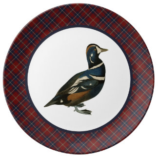 Vintage Harlequin Duck with Rustic Maroon Plaid Plate