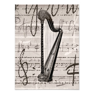 Vintage Harp and Antique Music Collage Customized Photo Art