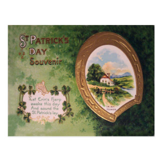 Vintage Harp of Erin Horseshoe St Patrick's Day Ca Postcard