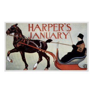 Vintage Harper's January Winter Horse and Sleigh Poster